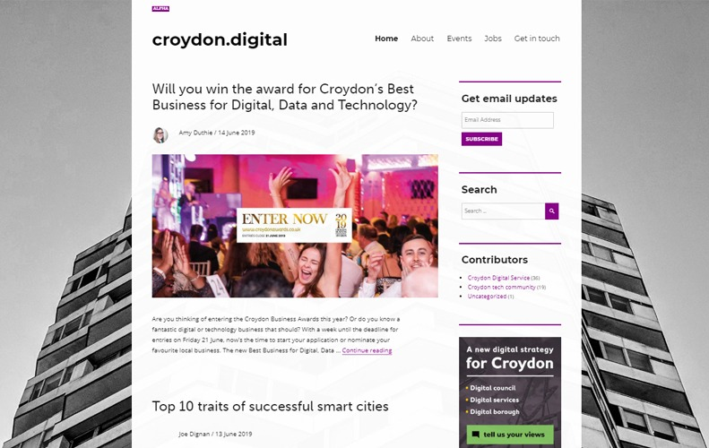 Homepage of the alpha version of croydon.digital