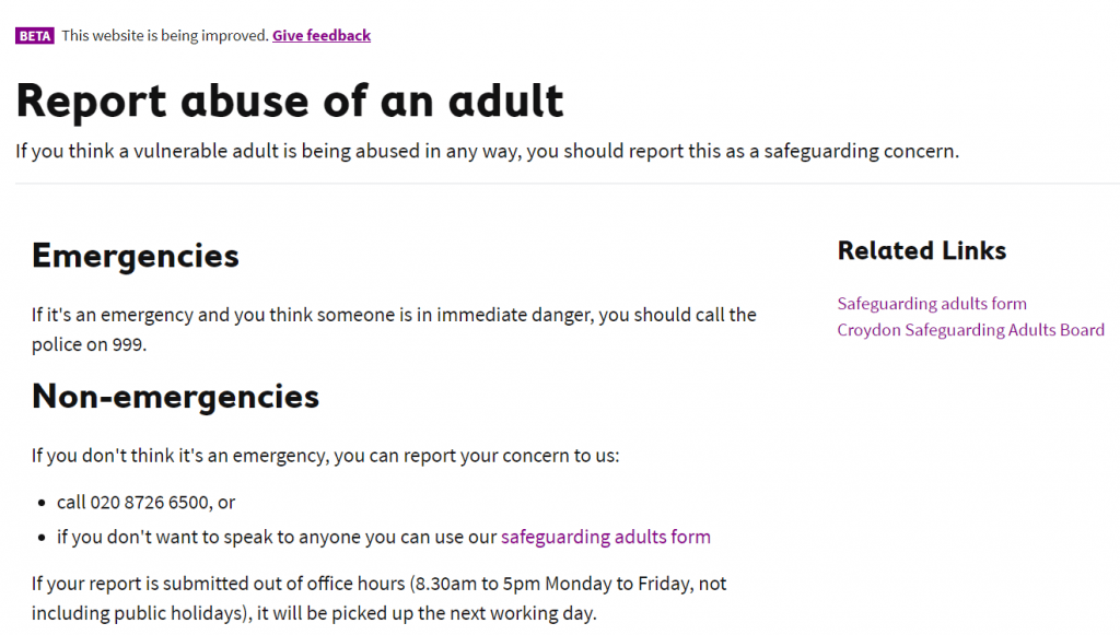 "A page called ""Report abuse"" which starts with emergency and non-emergency contact options"