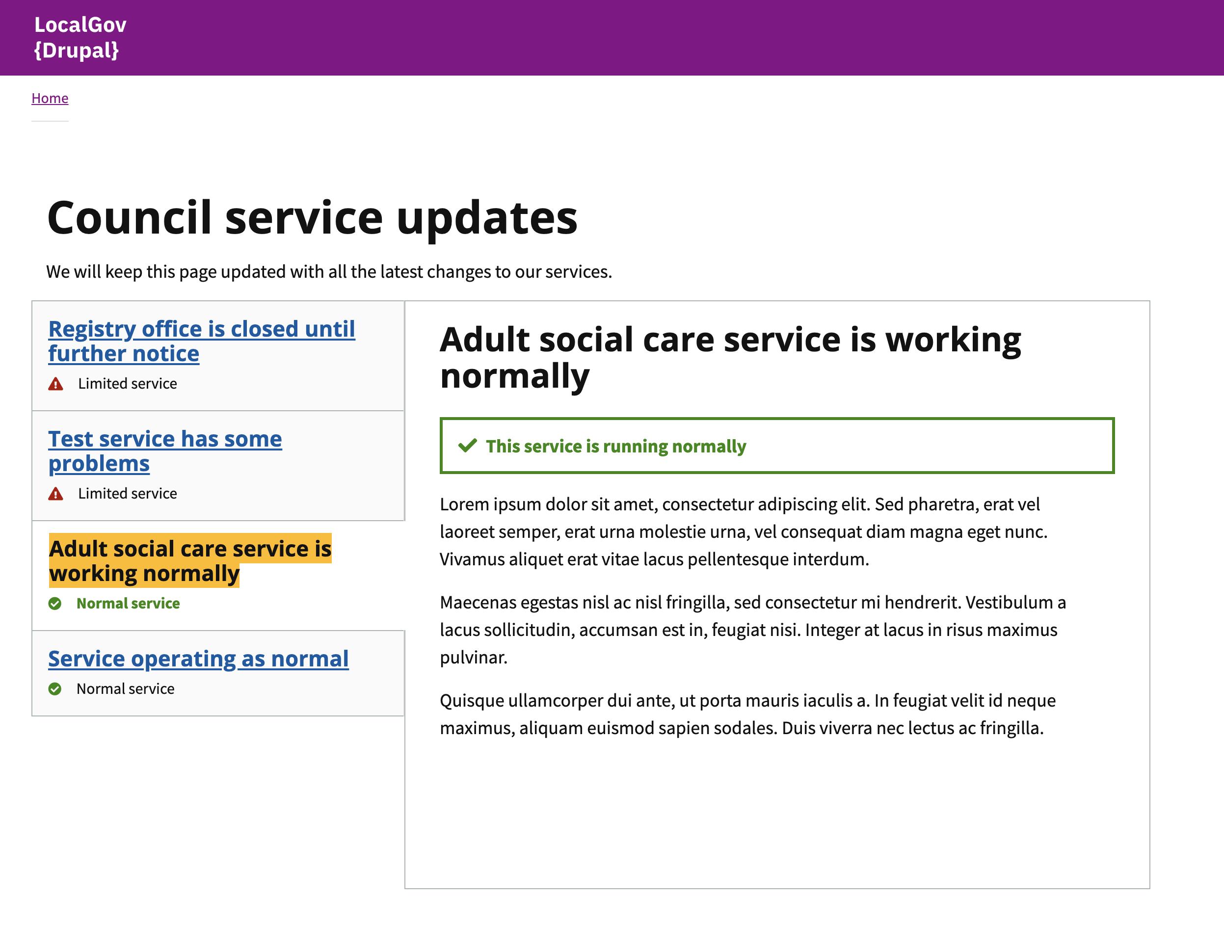 LocalGov Drupal service status