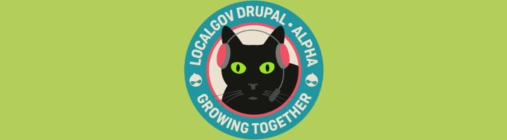 LocalGov Drupal Alpha mission patch featuring a black cat