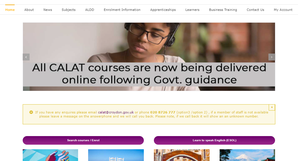 The old CALAT website, with a cluttered menu, text laid over image, and yellow on yellow text